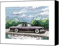 Framed  Of Lincoln Continentals. Framed  Of Art Of Famous Lincoln Cars. Framed  Of Lincoln Car Art. Framed  Of Great American Classic Cars Canvas Prints - 1956  Lincoln Continental MK II Canvas Print by Jack Pumphrey