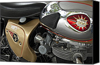 Bsa Canvas Prints - 1966 BSA 650 A-65 Spitfire Lightning Clubman Motorcycle Canvas Print by Jill Reger