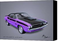 Purple Car Canvas Prints - 1970 CHALLENGER T-A  muscle car sketch rendering Canvas Print by John Samsen