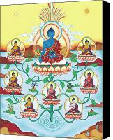 Tantrayana Canvas Prints - 8 Medicine Buddhas Canvas Print by Carmen Mensink