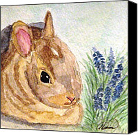 Easter Bunny Painting Canvas Prints - A Baby Bunny Canvas Print by Angela Davies