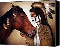 Equine Canvas Prints - A Conversation Canvas Print by Pat Erickson