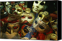 Celebrations Canvas Prints - A Display Of Venetian Masks In A Shop Canvas Print by Todd Gipstein