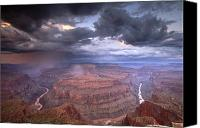 Image Setting Photo Canvas Prints - A Monsoon Storm In The Grand Canyon Canvas Print by David Edwards