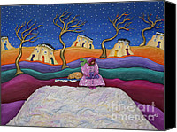 Sky Sculpture Canvas Prints - A Snowy Night Canvas Print by Anne Klar