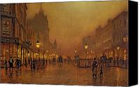 Architecture Painting Canvas Prints - A Street at Night Canvas Print by John Atkinson Grimshaw