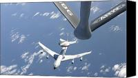 Awacs Canvas Prints - A U.s. Air Force E-3 Sentry Airborne Canvas Print by Stocktrek Images