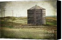 Saskatchewan Canvas Prints - Abandoned wood grain storage bin in Saskatchewan Canvas Print by Sandra Cunningham