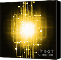 Decoration Canvas Prints - Abstract Circuit Board Lighting Effect  Canvas Print by Setsiri Silapasuwanchai
