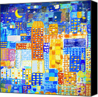 Repeat Pattern Canvas Prints - Abstract City Canvas Print by Setsiri Silapasuwanchai