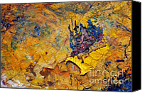 Dry Painting Canvas Prints - Abstract Composition Canvas Print by Michal Boubin