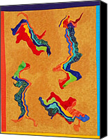 Motion Tapestries - Textiles Canvas Prints - Abstracts Dancing Canvas Print by Jenny Williams