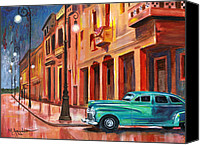 Cuba Painting Canvas Prints - Al Caer la Noche Canvas Print by Maria Arango