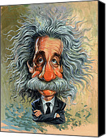 Science Painting Canvas Prints - Albert Einstein Canvas Print by Art