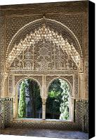 Building Canvas Prints - Alhambra windows Canvas Print by Jane Rix