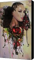 Drips Mixed Media Canvas Prints - Alicia Keys Canvas Print by Lauren Penha
