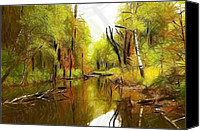Expressionism Pastels Canvas Prints - Along the river Canvas Print by Stefan Kuhn