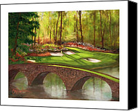 Augusta Golf Painting Canvas Prints - Amen Corner Canvas Print by Catherine Marchand