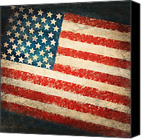 Old Pastels Canvas Prints - America flag Canvas Print by Setsiri Silapasuwanchai