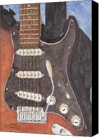 Guitar Painting Canvas Prints - American Standard Canvas Print by Ken Powers
