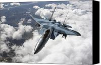 Aircraft Photo Canvas Prints - An F-15c Aggressor Flies Canvas Print by Stocktrek Images