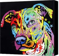Portrait Mixed Media Canvas Prints - Angel Pit Bull Canvas Print by Dean Russo