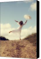 Barefoot Canvas Prints - Angel With Parasol Canvas Print by Joana Kruse
