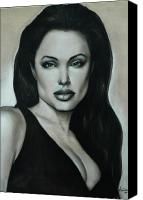 Black And White Pastels Canvas Prints - Angelina Jolie Canvas Print by Anastasis  Anastasi