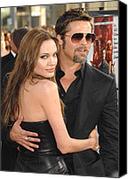 Jolie Canvas Prints - Angelina Jolie, Brad Pitt At Arrivals Canvas Print by Everett