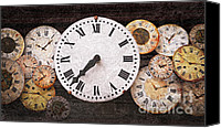 Minutes Photo Canvas Prints - Antique clocks Canvas Print by Elena Elisseeva