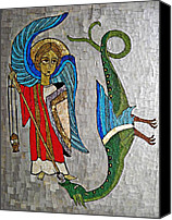 Devil Mixed Media Canvas Prints - Archangel Michael and the Dragon    Canvas Print by Sarah Loft