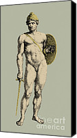 Nude Drawing Photo Canvas Prints - Ares, Greek God Of War Canvas Print by Photo Researchers