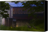 Barn Digital Art Canvas Prints - Around The Barn Canvas Print by Ron Jones