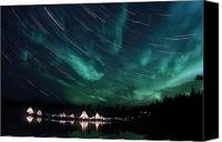 Polar Aurora Canvas Prints - Aurora And Star Trails Canvas Print by Yuichi Takasaka