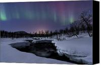 Polar Aurora Canvas Prints - Aurora Borealis Over Blafjellelva River Canvas Print by Arild Heitmann