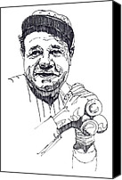 Babe Ruth Drawings Canvas Prints - Babe Ruth Canvas Print by John D Benson