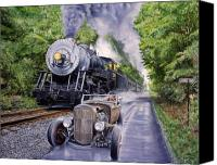 Train Painting Canvas Prints - Backwoods Duel Canvas Print by Ruben Duran