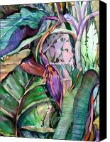 Florida Mixed Media Canvas Prints - Banana Pod Canvas Print by Mindy Newman
