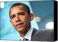 Barack Canvas Prints - Barack Obama On Stage For Democratic Canvas Print by Everett