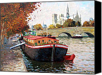 Barge Canvas Prints - Barges on the Seine Paris Canvas Print by Roelof Rossouw
