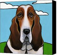 Dogs Canvas Prints - Basset Hound Canvas Print by Leanne Wilkes