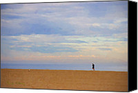 Signed Photo Canvas Prints - Beach Jogger Canvas Print by Chuck Staley