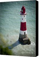 White Jewelry Canvas Prints - Beachy Head Lighthouse. Canvas Print by Donald Davis