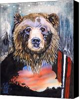 Major Mixed Media Canvas Prints - Bear Medicine Canvas Print by J W Baker