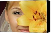 Twenties Photo Canvas Prints - Beautiful Young Woman with a Yellow Lily Canvas Print by Oleksiy Maksymenko