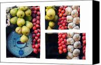 Triptych Canvas Prints - Beauty in tomatoes garlic and pears triptych Canvas Print by Silvia Ganora