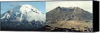 Natural Disasters Canvas Prints - Before And After The Eruption Of Mount Canvas Print by Everett