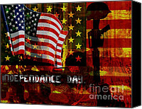 Independance Day Mixed Media Canvas Prints - Behind the Scenes Canvas Print by Fania Simon