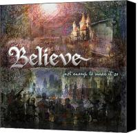 Holidays Canvas Prints - Believe Canvas Print by Evie Cook