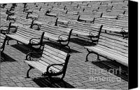 Park Benches Photo Canvas Prints - Benches Canvas Print by Perry Webster